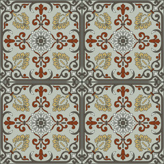 Spanish traditional ornament, Mediterranean seamless pattern, tile design.