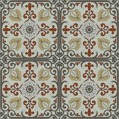 Spanish traditional ornament, Mediterranean seamless pattern, tile design.