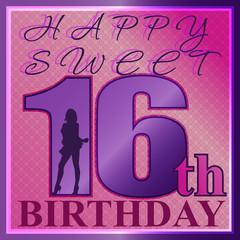 sixteen birthday greeting card clip art