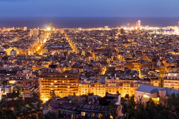 Barcelona night panoramic view, Spain