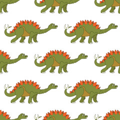 Vector illustration of a seamless repeating pattern of dinosaur