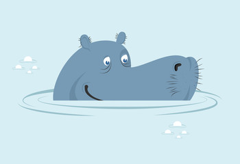 Hippo in water. Big fat hippopotamus  in swamp. Cute hippo head