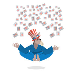 Democrat Donkey hat Uncle Sam meditating votes in elections. Che