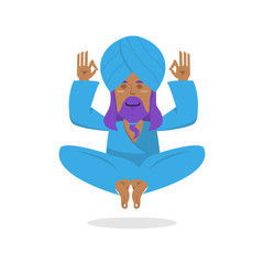 Indian yogi meditates. Yogi on white background. Indian yoga. Go