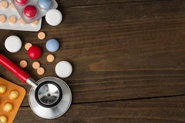 PHONENDOSCOPE, tablets , vitamins  top view