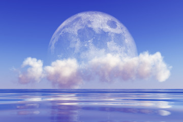 moon on cloud