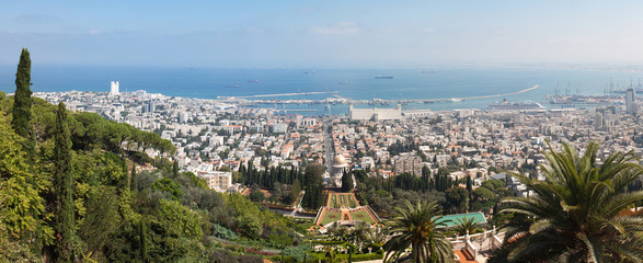 Stiched panorama of the beautiful Bahai gardens in Israel
