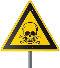 gelbes Schild Vektor mit Totenschädel als Giftsymbol