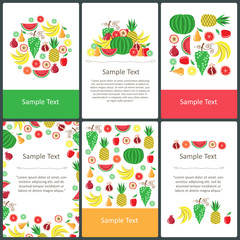 Vector set of pre-made cards on the theme of fruits and proper nutrition