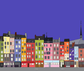 Cityscape Honfleur, vector illustration