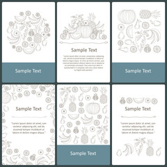 Vector set of pre-made cards on the theme of fruits, proper nutrition, food