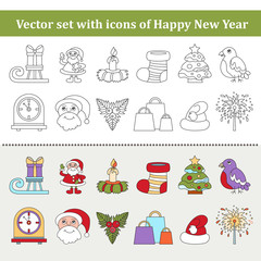 Vector set with isolated and colorful icons on the theme of Happy New Year and Christmas Day