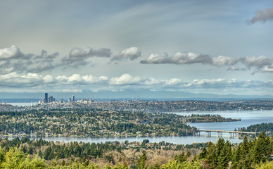 Beautiful Lake Washington Snakes and Turns in the Foreground as the Seattle Skyline Sits Quietly in the Distance