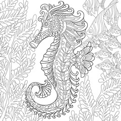 zentangle stylized cartoon seahorse and tropical fish among seaweed hand drawn sketch for adult antistress - Fish Coloring Pages For Adults