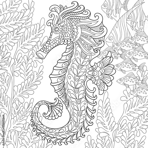 Zentangle Stylized Cartoon Seahorse And Tropical Fish Among Seaweed Hand Drawn Sketch For Adult Antistress