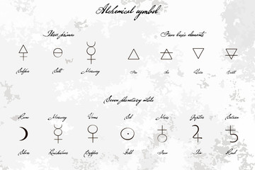 Medieval Magical Alchemical science signs set, hand-drawn ink style. Primes, basic elements, planetary metals with hand drawn vintage title. Alchemy collection. philosophy, occultism.