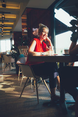 Women relaxing in cafe