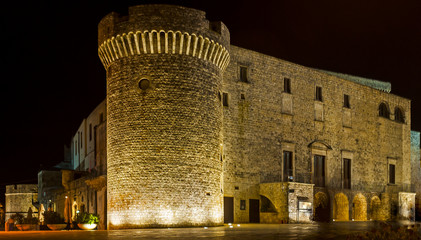 Overview Night of Conversano Square and the Norman castle tower. Puglia - Italy