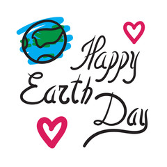 Happy Earth Day vector hand drawn illustration. Blue lines on wh