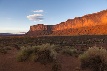 Rock formations overlooking desert, Monument Valley, Utah, United States
