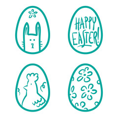 Happy Easter eggs vector card illustration hand drawn with easte