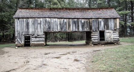 Pioneer Barn Background. 18th century pioneer barn in the Cades Cove area of the Great Smoky Mountains National Park.