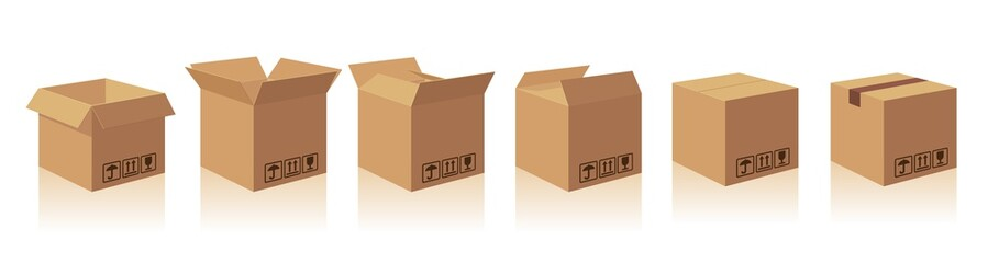 Open and closed recycle brown carton delivery packaging box with fragile signs. Collection vector illustration isolated box with shadow on white background for web, icon, banner, infographic