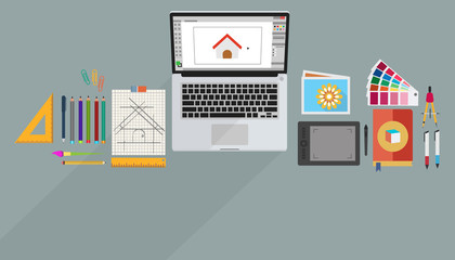 Banner in flat style with set of icons. Top view on desktop