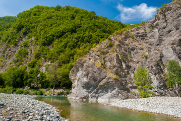 Rocky shores of the river Trebbia in northern Italy