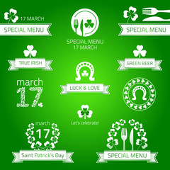 St patrick's day menu.