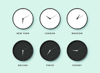 Set of day and night clock for time zones different cities. Black and white watch on a mentol background. Vector Illustration