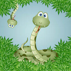 Funny snakes in leaves