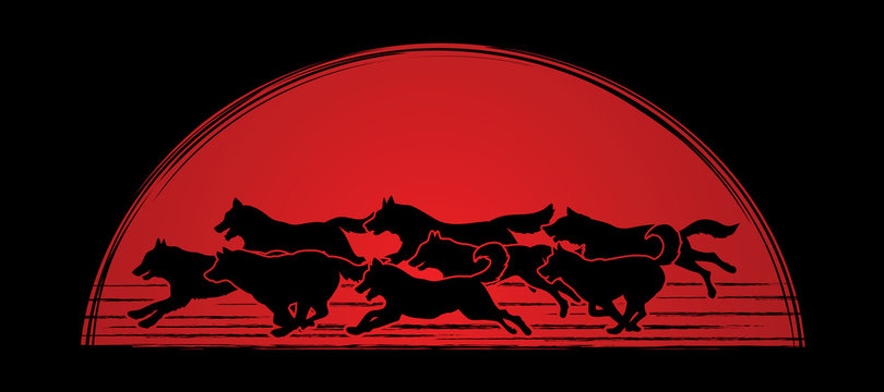 Dogs running designed on sunlight background graphic vector.