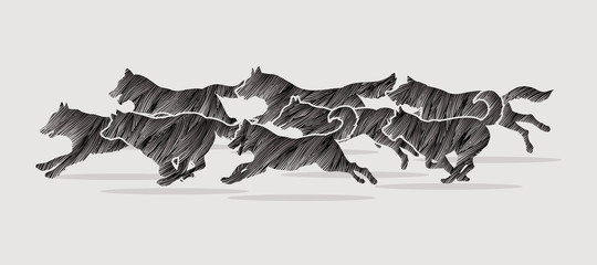Dogs running designed using black grunge brush graphic vector.