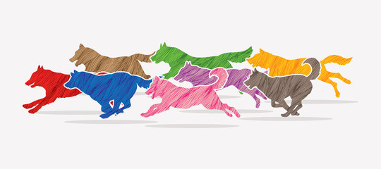Dogs running designed using colorful grunge brush graphic vector.