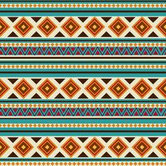 Colorful tribal geometric Aztec seamless pattern