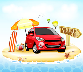Red Car to the Beach with Surfboard and Beach Ball Beside the Umbrella at the Seashore and Two Hot Air Balloons in the Sky in Summer Holidays. Vector Illustration