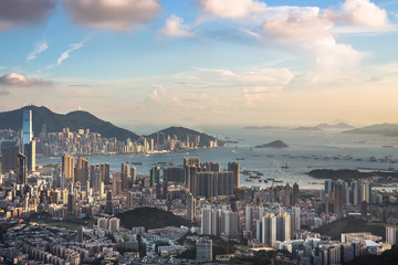 Hong Kong Island aerial view from Lion rock hill.