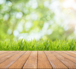 Bright spring or summer with nature grass field background and wooden floor