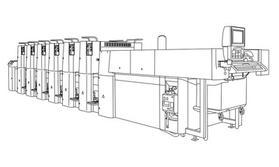 industrial machinery, line drawing illustration
