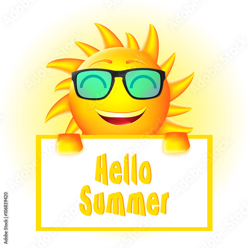 Smiling Animated Sun With Sun Glasses Holding Hello Summer Sign Board In  White Background