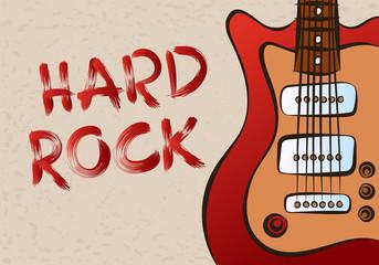 Inscription hard rock on grunge background