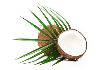 Coconuts with green leaves on white background