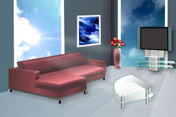 комната зал гостевая диван и большие окна, иллюстрация CorelDRAW