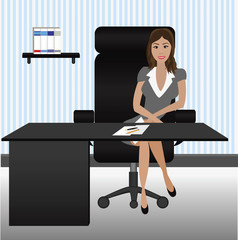 vector of business woman sitting in the office
