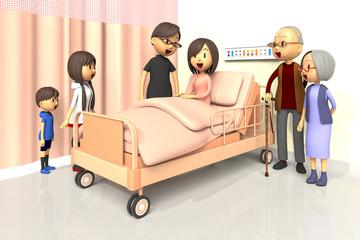 入院している女性とお見舞いする家族