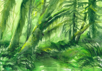 Vibrant green mossy trees in the deep of the forest. Original watercolor painting.
