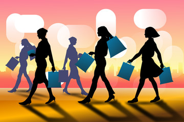 woman with shopping bag vector