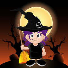 vector witch holding a broomstick