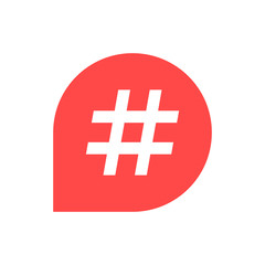 hashtag icon in red bubble